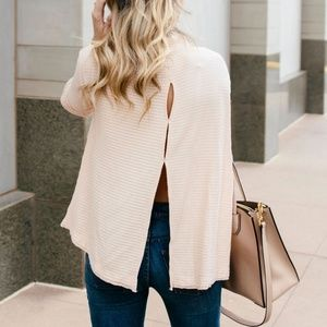 Free People Blush Love Split Back Pullover XS